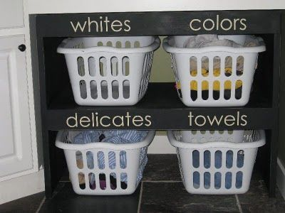 Laundry shelves & baskets. love the organization