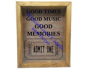 """Wooden Shadow Box Ticket Holder 9""""x11"""" - Good Times Good Music Good Memories with Ticket"""