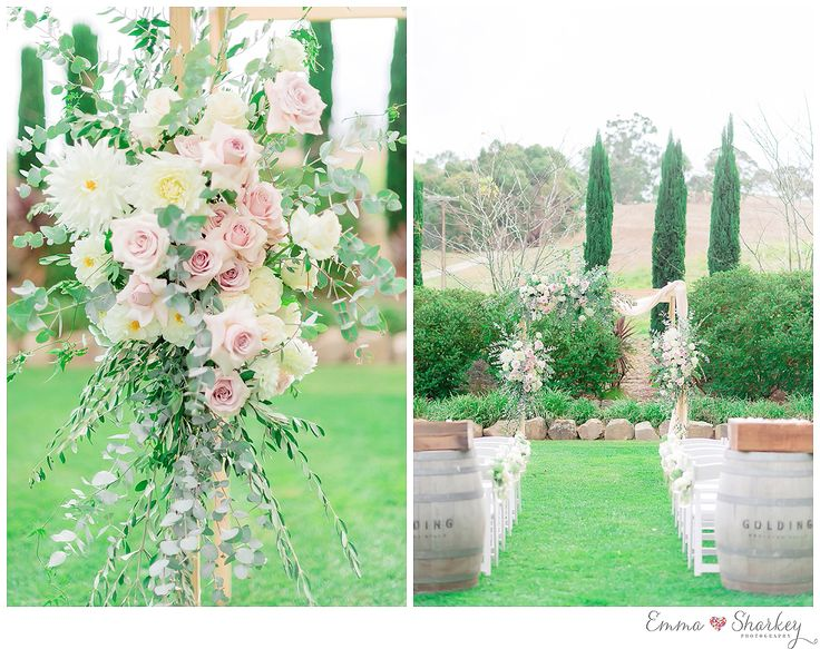 Golding Winery Wedding Photographed by Emma Sharkey Photography Adelaide Hills Wedding Ceremony and Reception Location Soft, blush pink wedding dress Floral styling by Lillianthus Ceremony floral wedding arbour Winery Wedding inspiration and Ideas  Wedding hair upstyle Bouquet inspiration Navy blue bridesmaid dresses Grooms attire, black tie suits