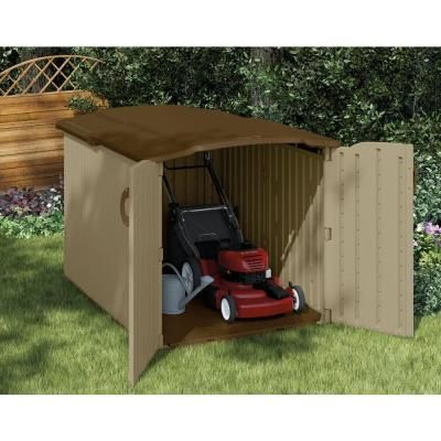 Suncast Storage Shed at Home Dept $399. sits below fence line and has a glide top. ( Not that my little 5'1 self will need!)