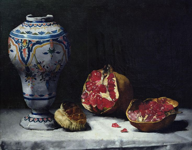 Still Life With A Pomegranate Painting by Auguste Theodule Ribot - Still Life With A Pomegranate Fine Art Prints and Posters for Sale