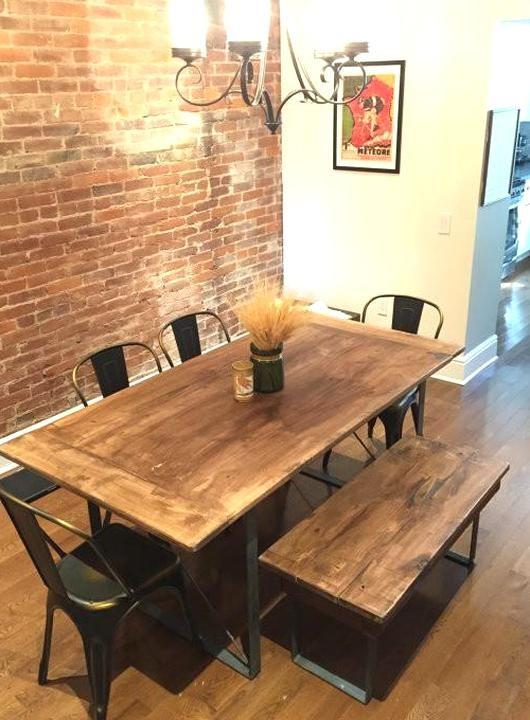 Handcrafted 6 Seater Modern Oak Wood Black Steel Dining Table