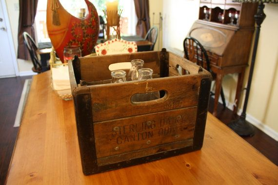 Vintage Milk Crate Sterling Dairy Milk Company by RomantiqueTouch, $49.99