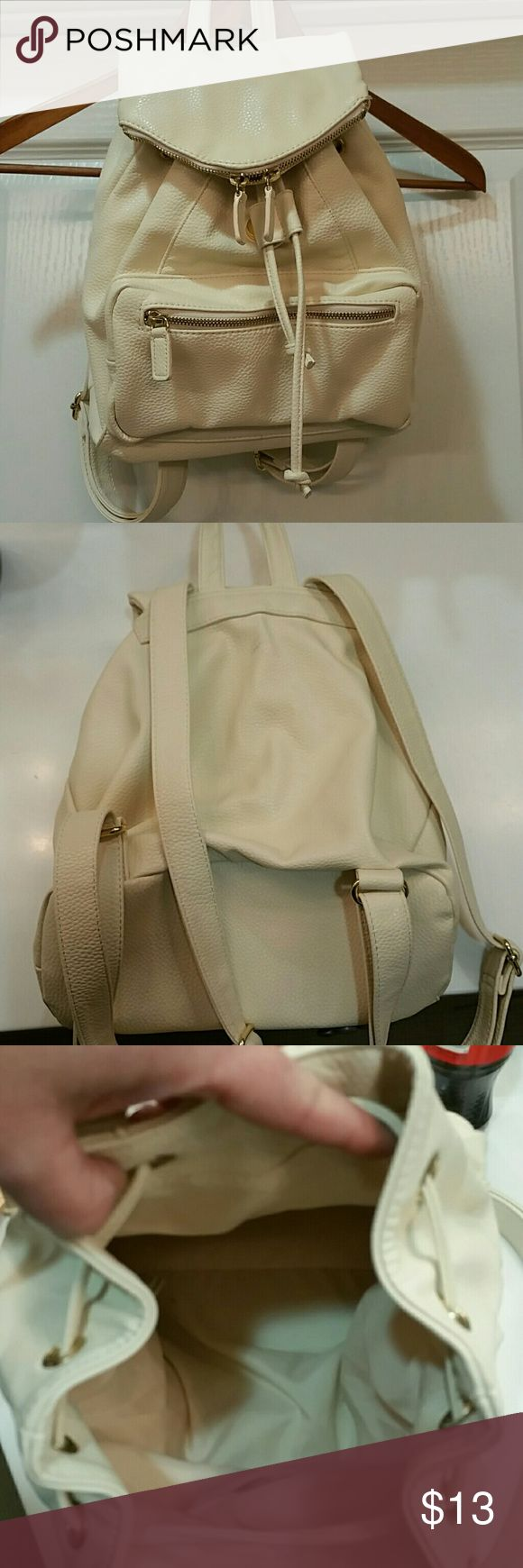 """NWOT Kimchi Blue backpack 100% polyurethane, off white. 11"""" across, aprox 12"""" deep, unfilled and unstretched. Cute go to bag. Spot clean with damp cloth when  needed. NWOT Kimchi Blue Bags Backpacks"""