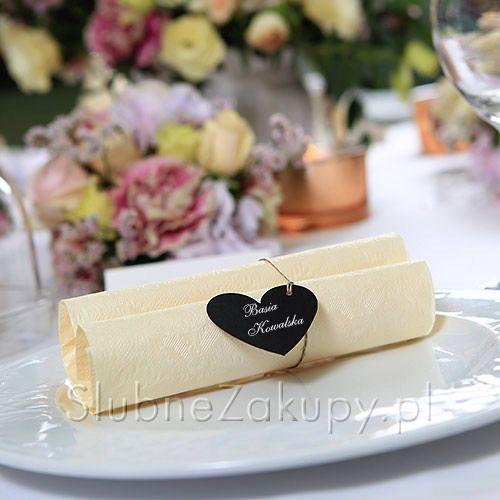 SERWETNIKI/ZAWIESZKI Czarne Serca 10szt#slub #wesele #sklepslubny #slubnezakupy #vintage #wedding