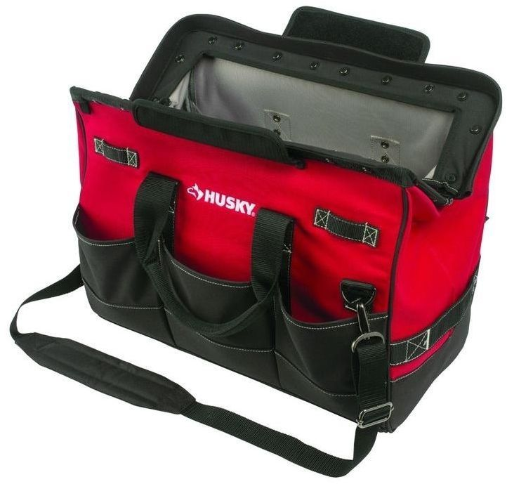Husky 20 In. Technicians 8 Pocket Tool Tote Storage Bag With Magnetic Closure #Husky