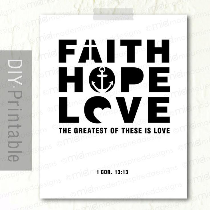 Bible Verse Art - Faith Hope Love - 8 x10 Scripture Printable - 1 Corinthians 13 - Scripture Artwork - Christian Printable - Christian Print. $5.00, via Etsy.