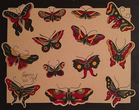 Traditional Butterfly Tattoo Flash: Traditional Butterfly Designs.
