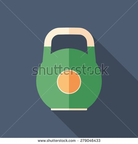 Colorful kettle bell flat square icon with long shadows. #sport #sporticons #flaticons #vectoricons #flatdesign