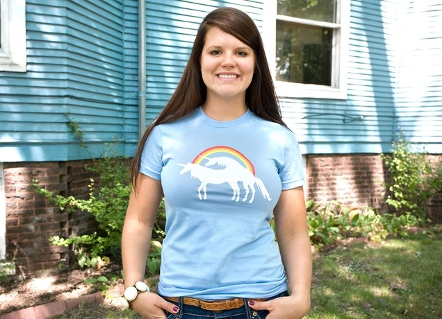Hubby bought this tee for me as a surprise. Hehe.: Cotton Tee, Afternoon Delight, Unicorns Humping, Actual Closet, Dream Closet, Blue Cotton, T Shirts, Favorite Shirt, Times Shirt
