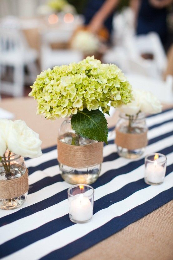 HYDRANGEAS.  My wedding WILL be this preppy.: Idea, Tables Sets, Stripes Tables, Tables Runners, Centerpieces, Mason Jars, Table Runners, Flower, Hydrangeas