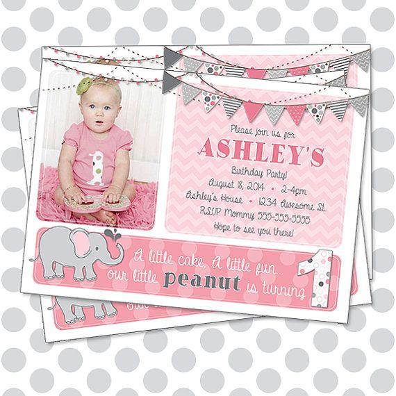 Our Little Peanut Elephant Girl Birthday Invitation