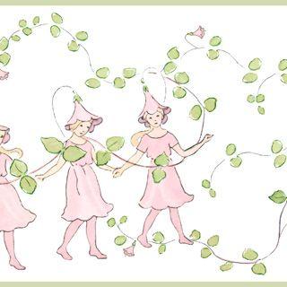 Skira, rosa Linnea med slingrande gröna blad är Elsa Beskows klassiska mönster från Blomsterfesten i Täppan som nu blivit en barntapetbård. På den här romantiska bården dansar blommorna under taket vilket gör sig fint på väggarna i det lilla barnrummet.