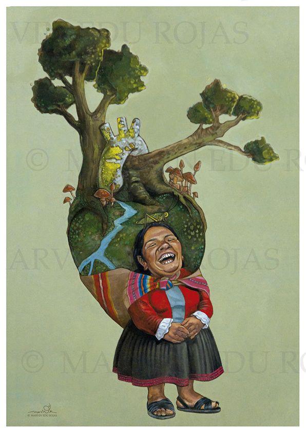 ilustración duende andino Cargando energía por el artista Marvin Edu Rojas Aquise