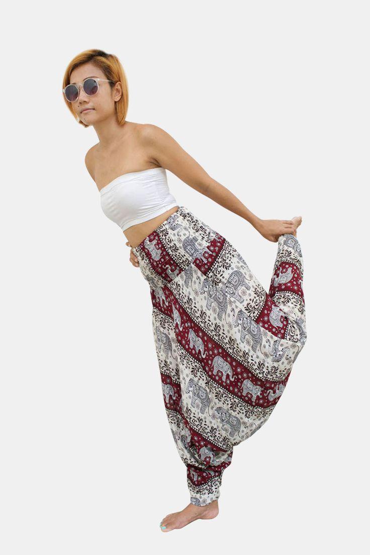 Elephant Thai Harem Pants Women Jumpsuit Burgundy & White Stripe