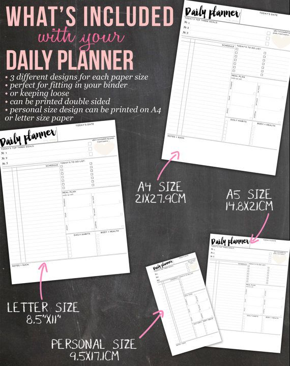 Daily Organizer PRINTABLE Planner Pges by IndigoPrintables on Etsy