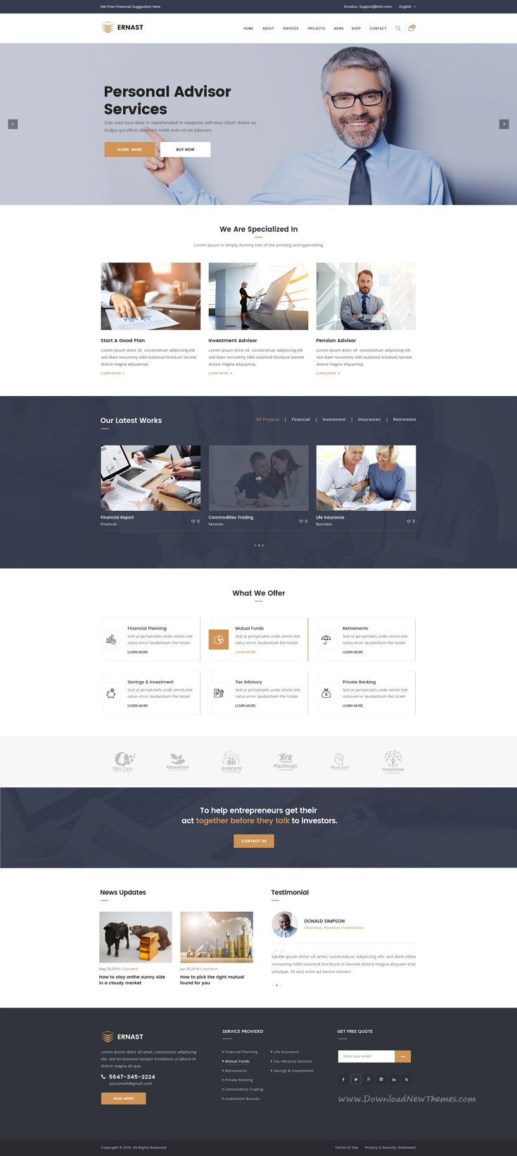 Ernast : Finance PSD Template suitable for all types of consulting businesses website.