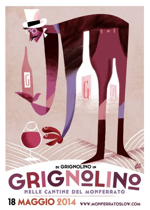 """""""Di Grignolino in Grignolino 2014"""" - Slow Food   illustrazione digitale Riccardo Guasco 2014"""
