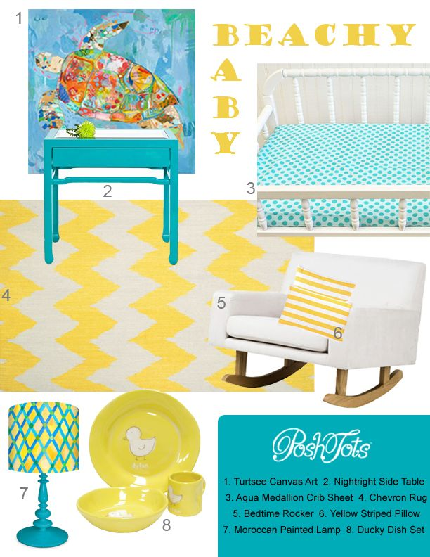 """Bring the Beach to Baby by Posh Tots (Featuring """"Turtsee"""" Wall Decor by Jennifer Mercede + """"Moroccan Painted Lamp"""" by Donna Ingemanson)"""