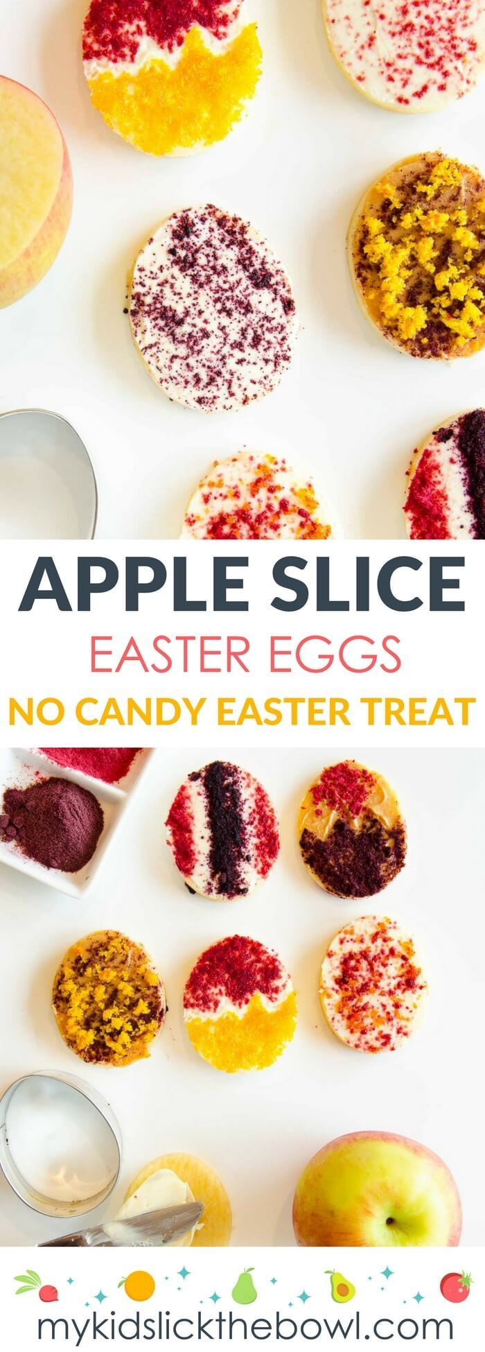 Healthy easter treats, apple slice easter eggs a snack and holiday craft activity for kids. Freeze dried fruits add the colour