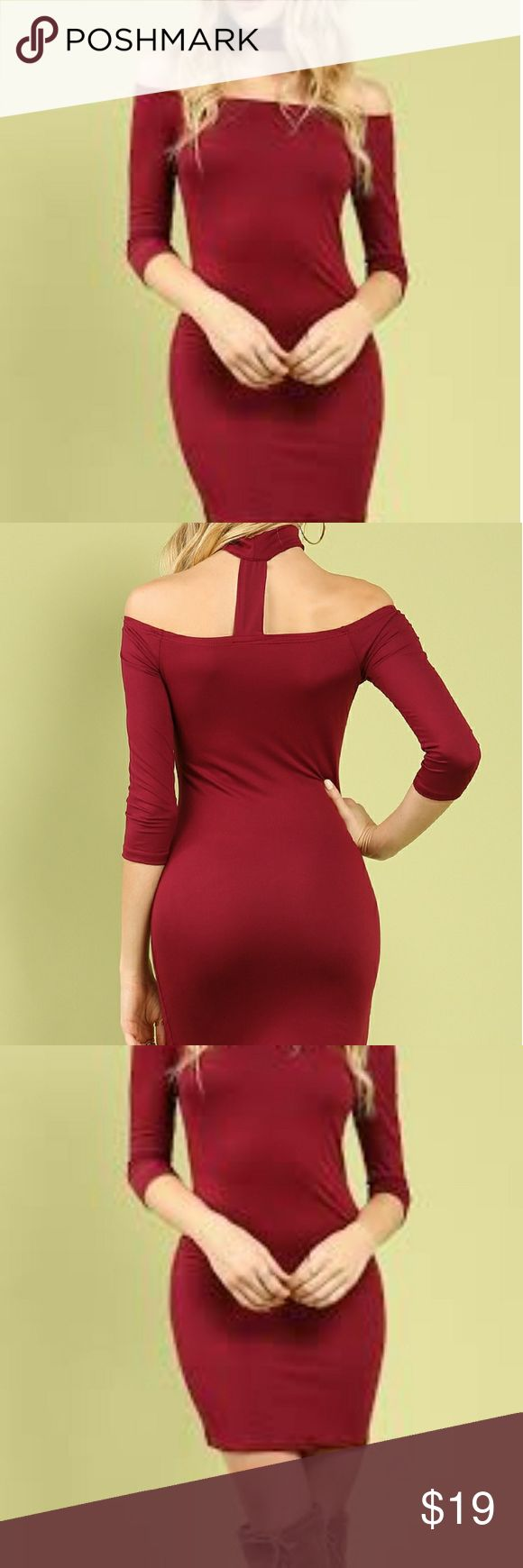 Boohoo off the shoulder choker dress New without tags, Sexy burgundy fitted off the shoulder dress, attached choker, size 2, long sleeves, accepting all reasonable offers, bundle for discounts, JUST IN TIME FOR VALENTINE'S DAY! Boohoo Dresses