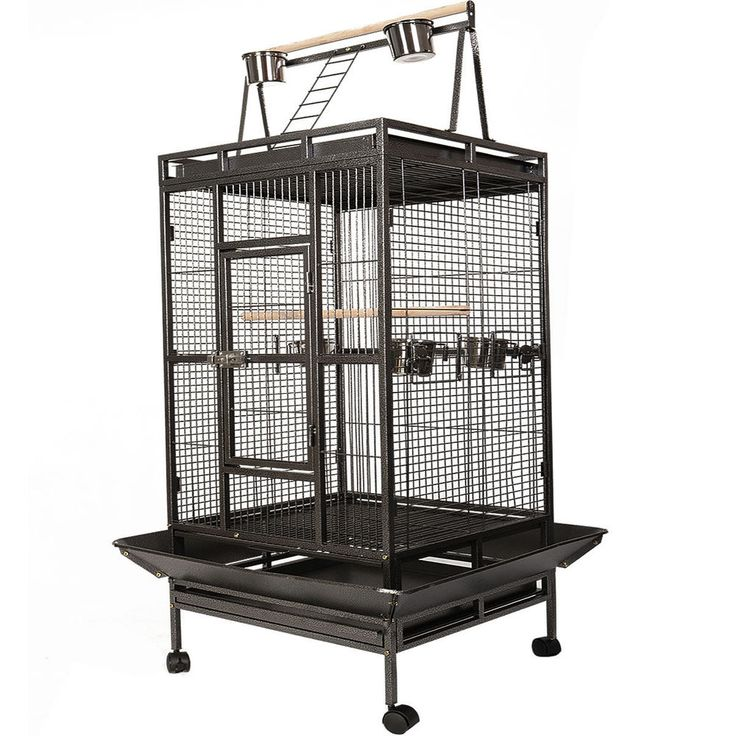Black Bird Cage Large Play Top Parrot Finch Cage Macaw Cockatoo Pet Supplies #Unbranded