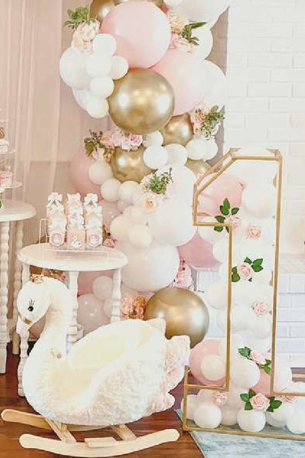 Swan Birthday Party Ideas Photo 2 Of 8 Birthday Party Theme Decorations 1st Birthday Party For Girls First Birthday Party Decorations