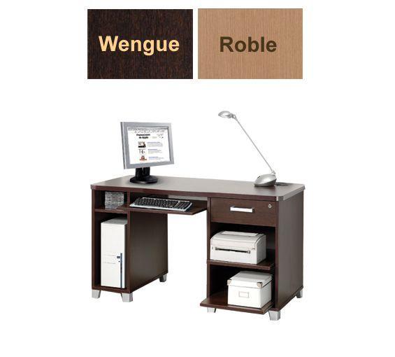 Mesa para ordenador con repisas y cajón. disponible en colores roble y wengue.