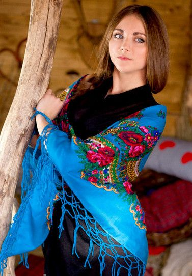 """Ukrainian shawl """"Hustka"""". Turquoise. Large"""