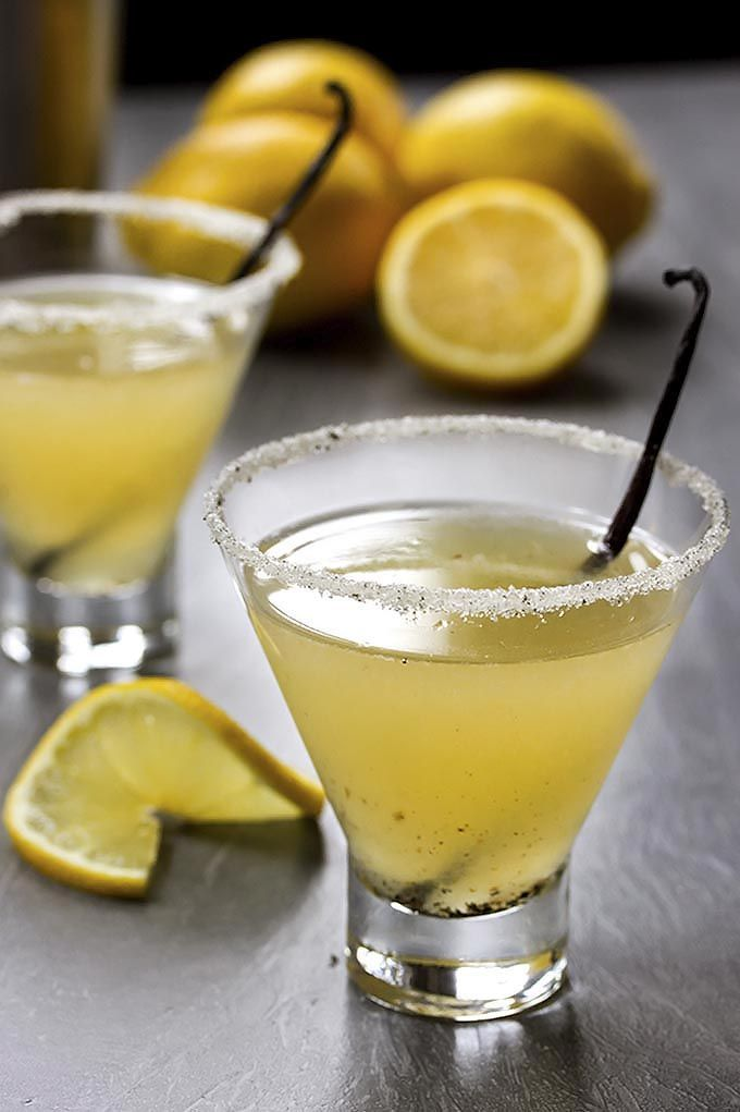 This lemon martini is made with real vanilla beans and fresh squeezed meyer lemons creating a slightly sweet and lovely aromatic cocktail