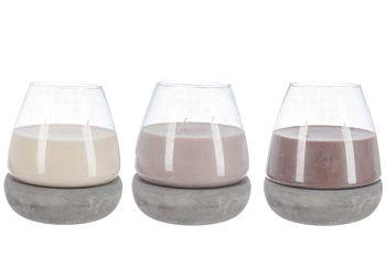 Kaars in pot assortiment.  Assortiment kaarsjes in pot bestaande uit 3 verschillende kleuren in beigetinten.
