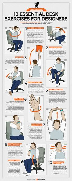 Desk exercises infographic - 10 essential routines for artists and designers.