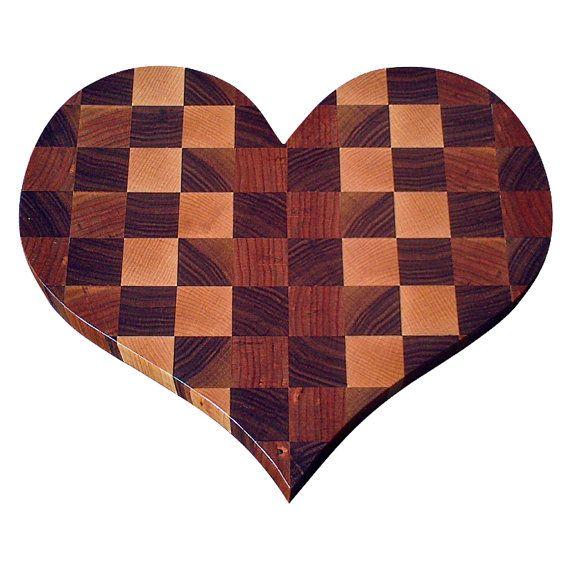 Heart-Shaped Walnut Maple & Cherry End Grain Cutting by NicheWood #nicheboards #dreamsturnedwood