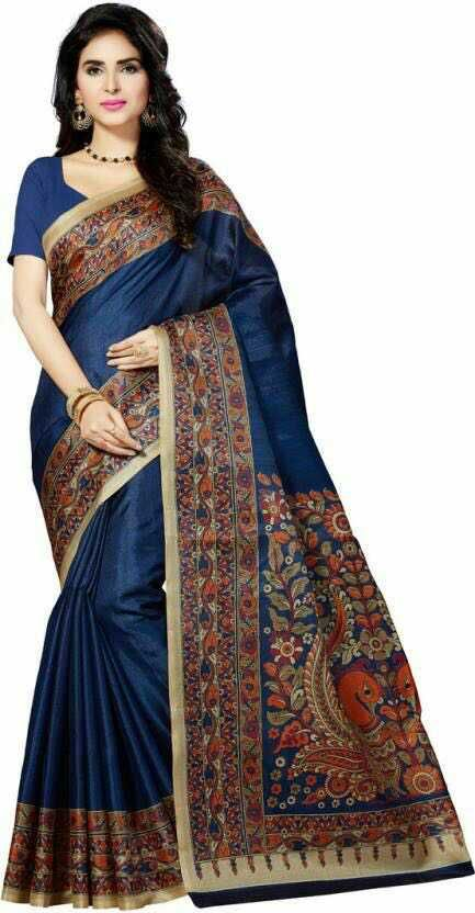 Klamkari silk saree with matching blouse.