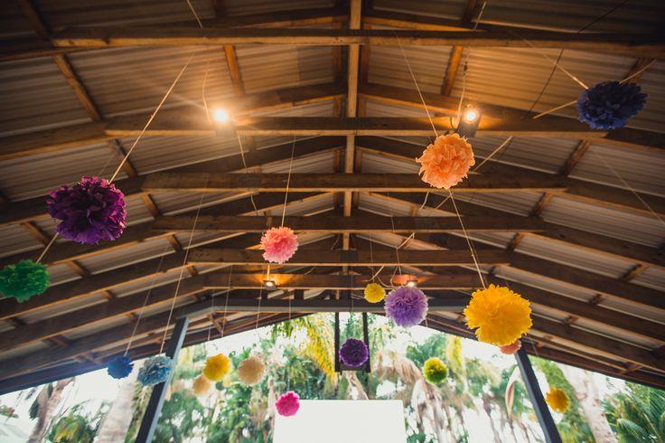 Flower paper pompoms, engagement party.