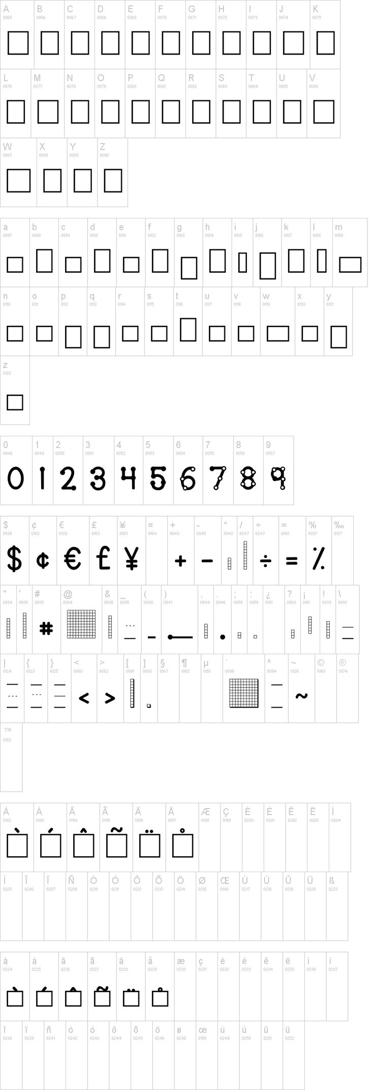 Free font that makes letter boxes, base ten blocks, touch numbers and more