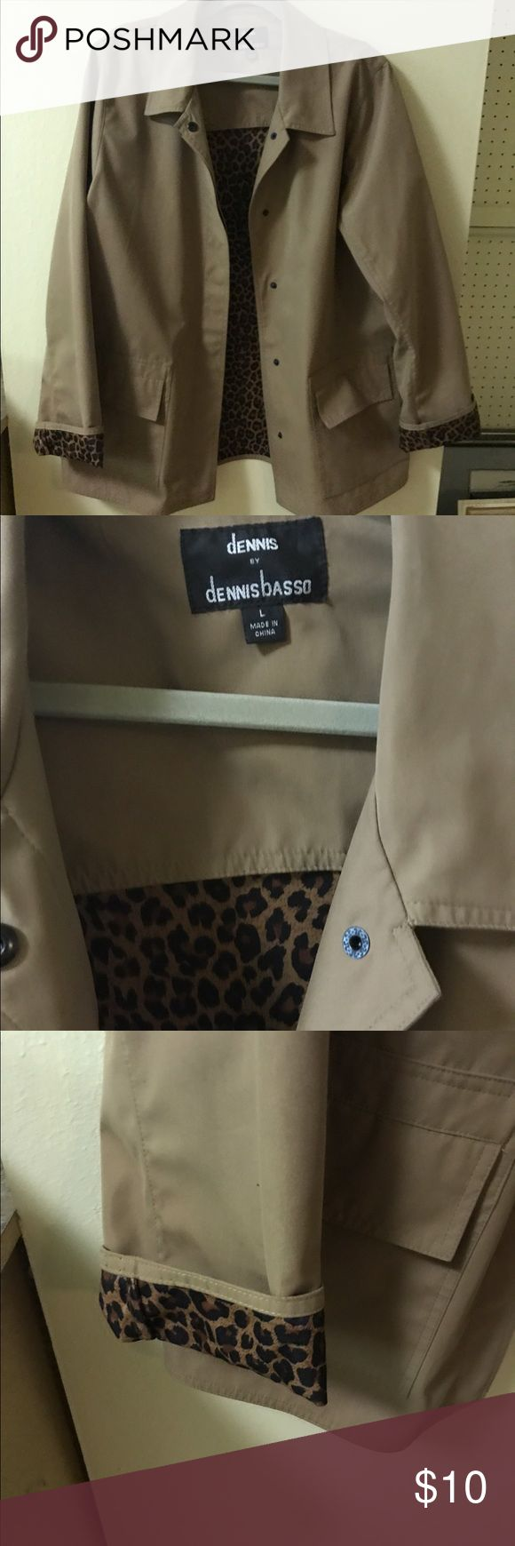 Dennis Basso Coat NEVER WORN - excellent condition - purchased from QVC (received as a gift) cute cheetah print lining- snaps up the front Dennis Basso Jackets & Coats Trench Coats