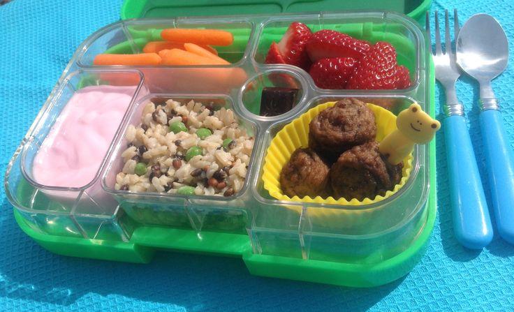Yummy Yumbox lunch with Swedish meatballs, multigrain rice, yogurt, carrots and strawberries.