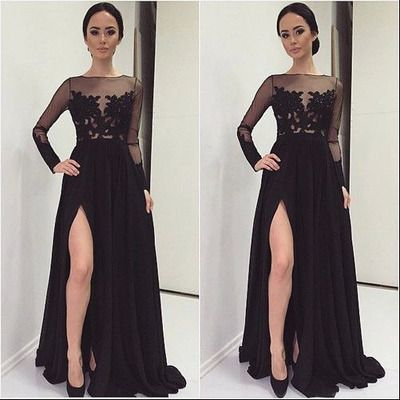 A-line Black lace long sleeve Slit prom dress,lace see-through long evening dress