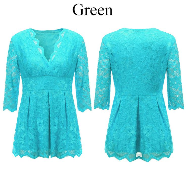 Sexy Women Lace Embossing V-Neck Pure Color Half Sleeve Blouse