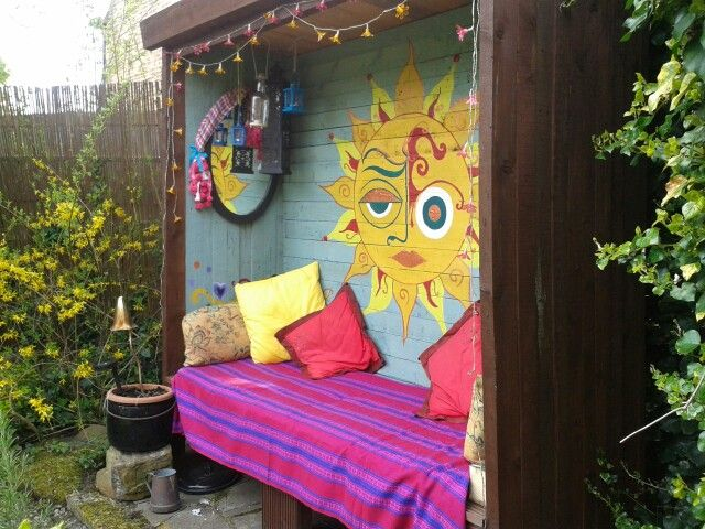 "Reclaimed wood DIY hippy shack.  Pinner said:  ""Made from scratch by my clever folks!"""