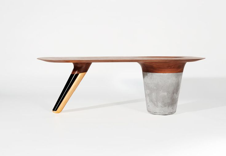 Tables That Combine Walnut, Concrete, & Copper