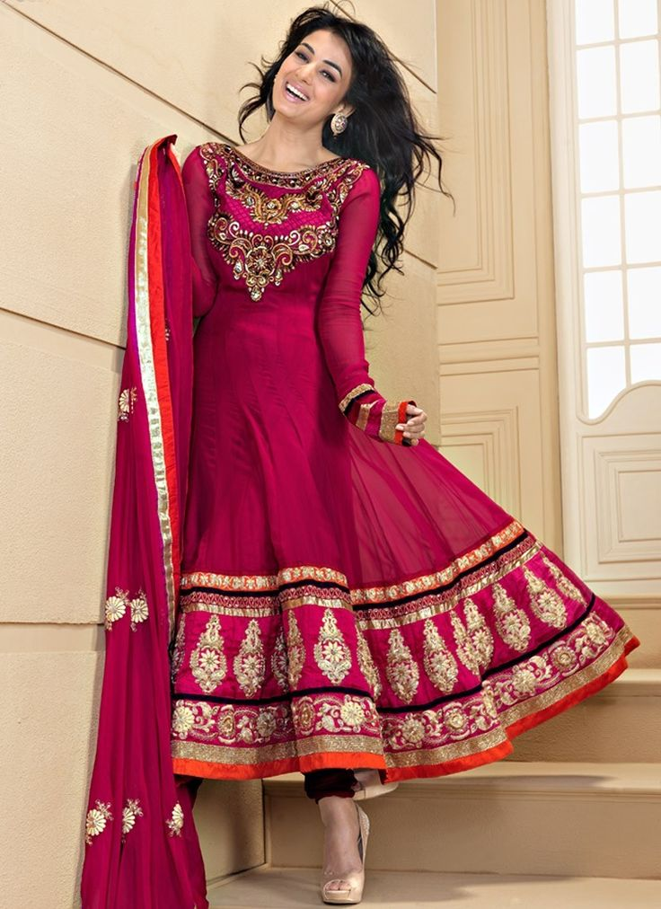 Divine Fuchsia Salwar Kameez Color Detail Lines