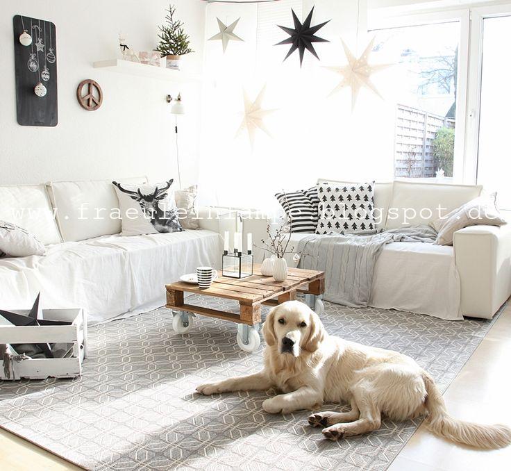 Wunderschöne Schwarz-Weiß-Deko und der benuta Teppich Essenza Geometry bei Fräulein Lampe #benuta #teppich #interior #rugs