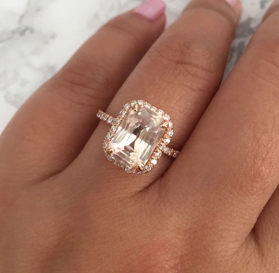 63 best engagement rings images on pinterest rings engagement radiant cut peach champagne sapphire diamond engagement ring in 14k rose gold junglespirit Images