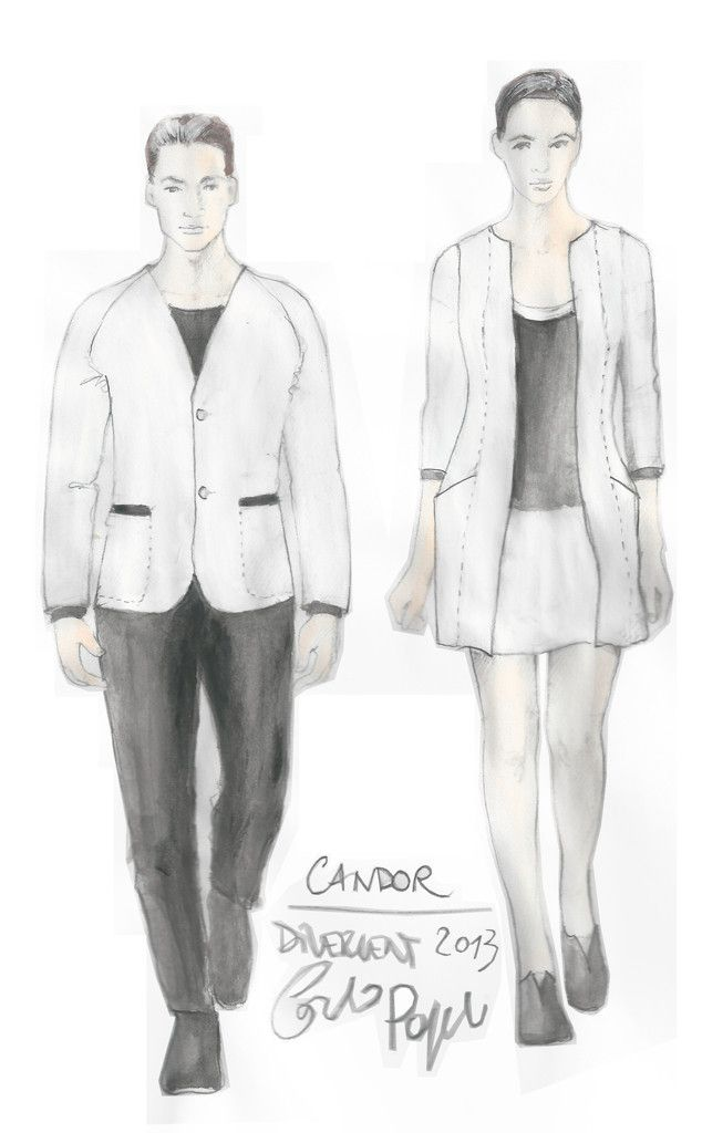 We're loving the contrast in these #Candor costumes from #Divergent's costume designer.