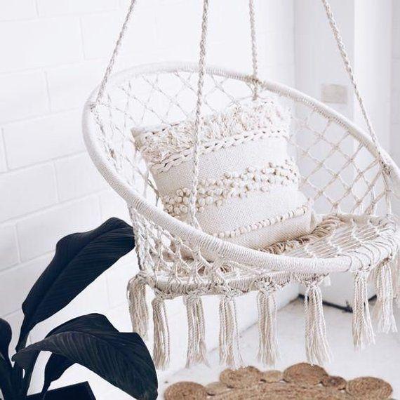 Hanging Cotton Rope Macrame Hammock Chair Swing Outdoor Indoor Home Garden White