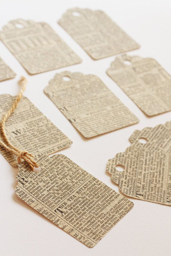 Vintage Victorian Newspaper Gift Tag Label - 10 Pack. Wedding Favours. Tea Party. Birthday.