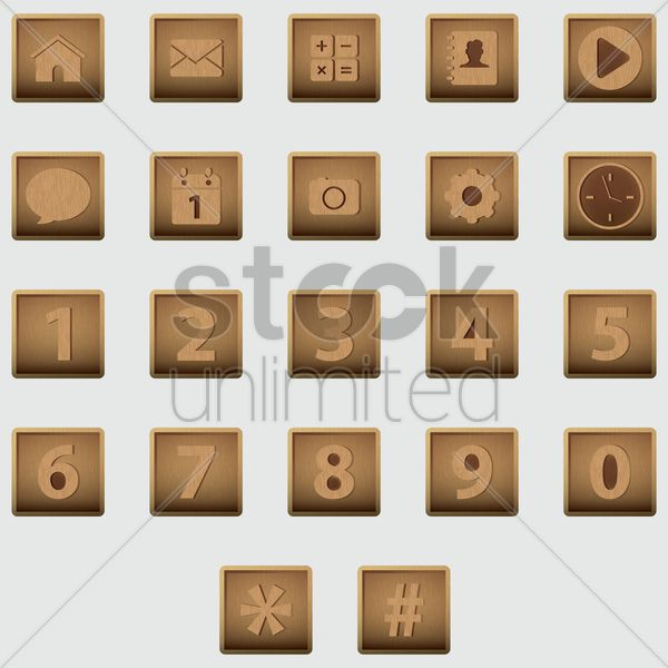 collection of social media icons Stock Vector