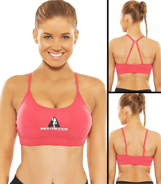 Premium Sports Bra - Pink  - Dual Strap - Removable Pads designed to give the perfect shape - Ultimate in performance & Comfort. Strong, Sexy yet Fashionable Gym wear!
